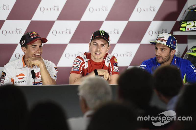 Marc Marquez, Repsol Honda Team; Jorge Lorenzo, Ducati Team; Andrea Iannone, Team Suzuki MotoGP