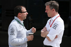 James Allison, Technical Director, Mercedes AMG F1, talks to a colleague