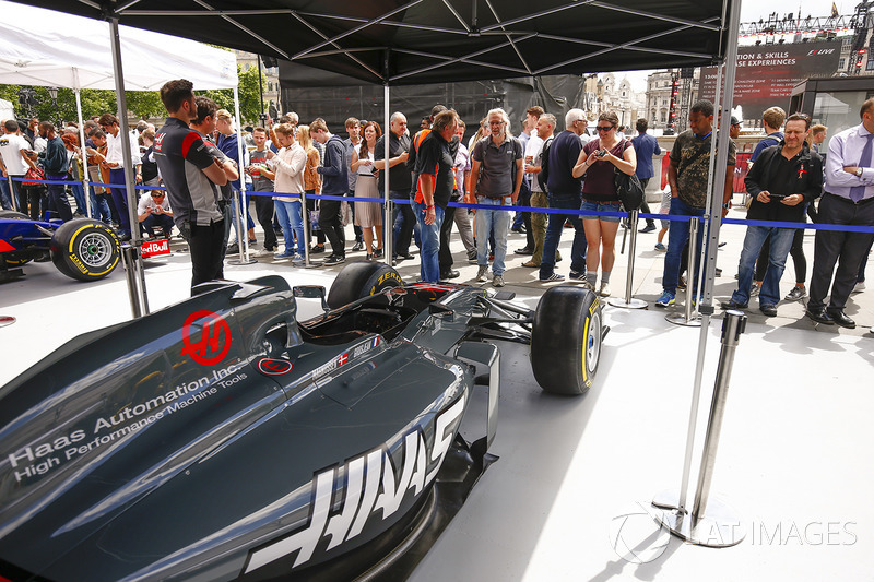 The Haas F1 Team VF-17 on the teams stand