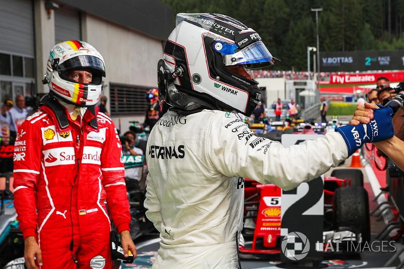 Race winner Valtteri Bottas, Mercedes AMG F1 and second place Sebastian Vettel, Ferrari celebrate in