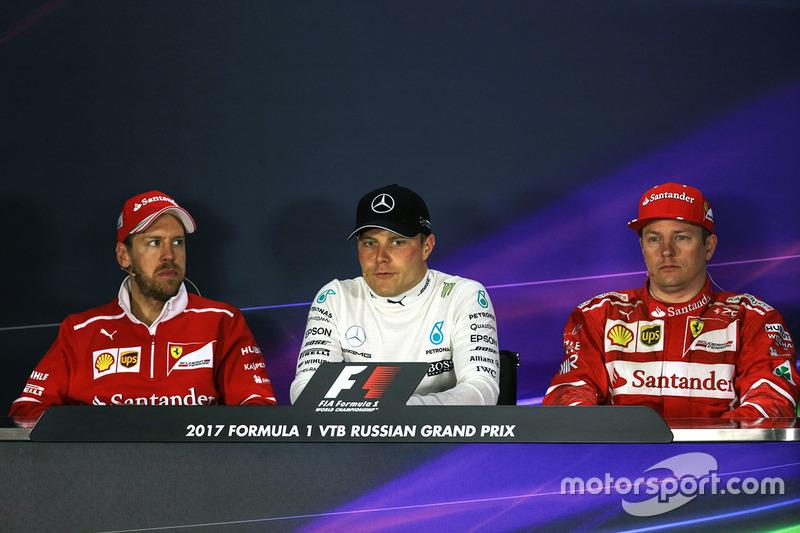 Sebastian Vettel, Ferrari, Valtteri Bottas, Mercedes AMG F1, Kimi Raikkonen, Ferrari in the Press Conference