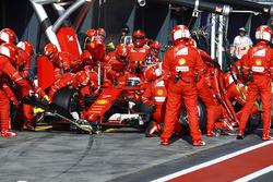 Kimi Raikkonen, Ferrari SF70H, makes a pit stop
