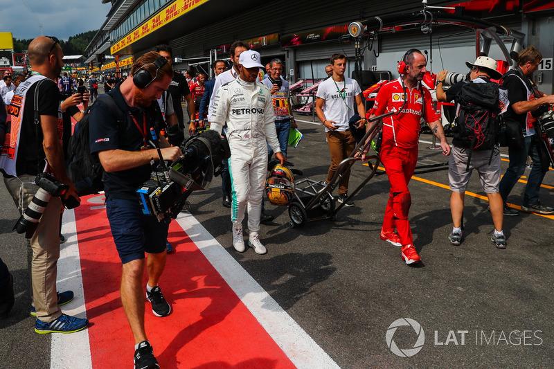 Polesitter Lewis Hamilton, Mercedes AMG F1 celebrates in parc ferme