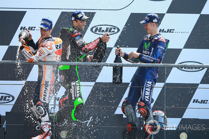 Podium: winner Maverick Viñales, Yamaha Factory Racing, second place Johann Zarco, Monster Yamaha Tech 3, third place Dani Pedrosa, Repsol Honda Team