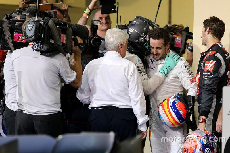 2. und Weltmeister Nico Rosberg, Mercedes AMG F1 und Fernando Alonso, McLaren F1