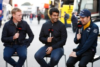 Simon Lazenby, Sky TV, Karun Chandhok, Sky TV et Sergio Perez, SportPesa Racing Point F1 Team