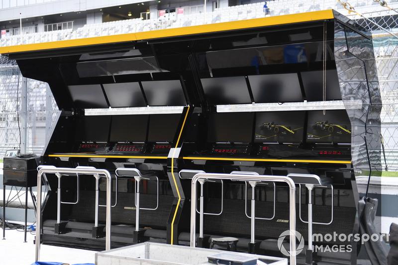 Le muret des stands de Renault Sport F1 Team
