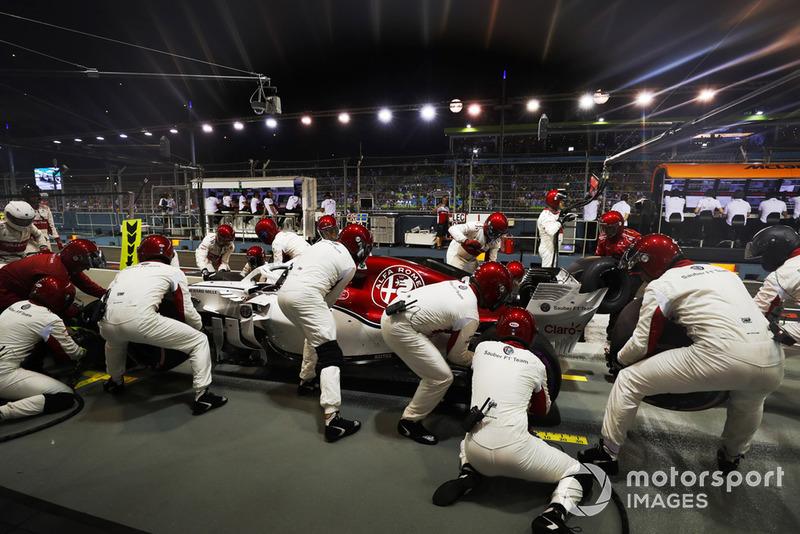 Charles Leclerc, Sauber C37, makes a pit stop
