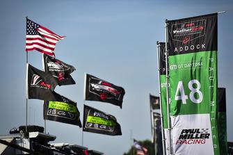 Paddock atmosphere, flags