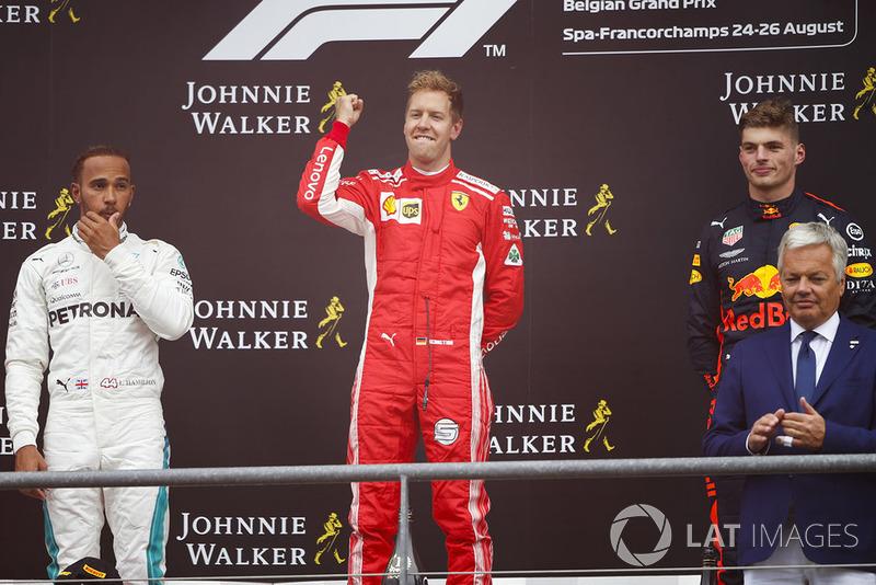 Podyum: Yarış galibi Sebastian Vettel, Ferrari, 2. Lewis Hamilton, Mercedes AMG F1, 3. Max Verstappen, Red Bull Racing