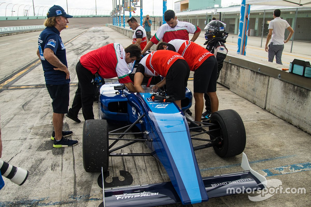 Emerson Fittipaldi Jr. testing a Formula 4 car