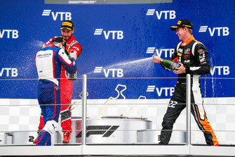 Podium : le vainqueur David Beckmann, Trident, le deuxième, Joey Mawson, Arden International, third place Richard Verschoor, MP Motorsport