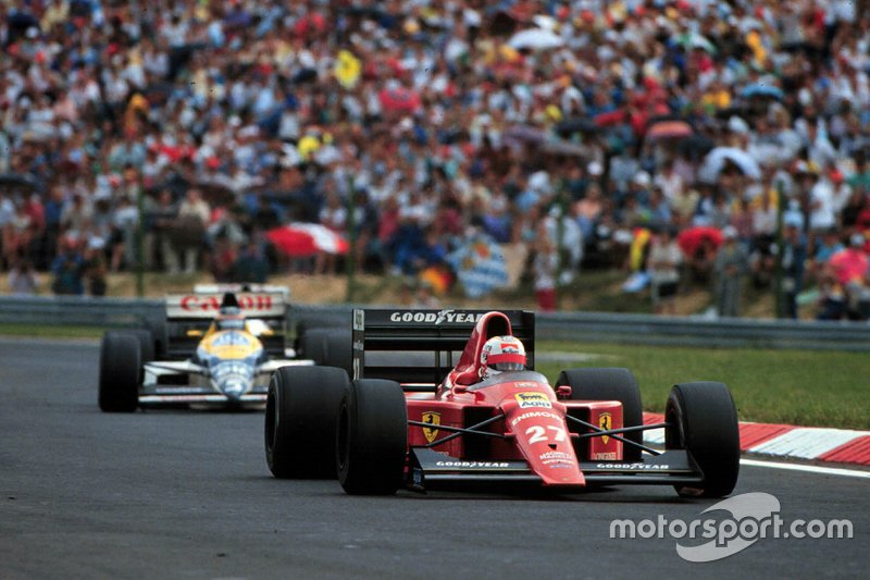 Nigel Mansell, Ferrari et Thierry Boutsen, Williams