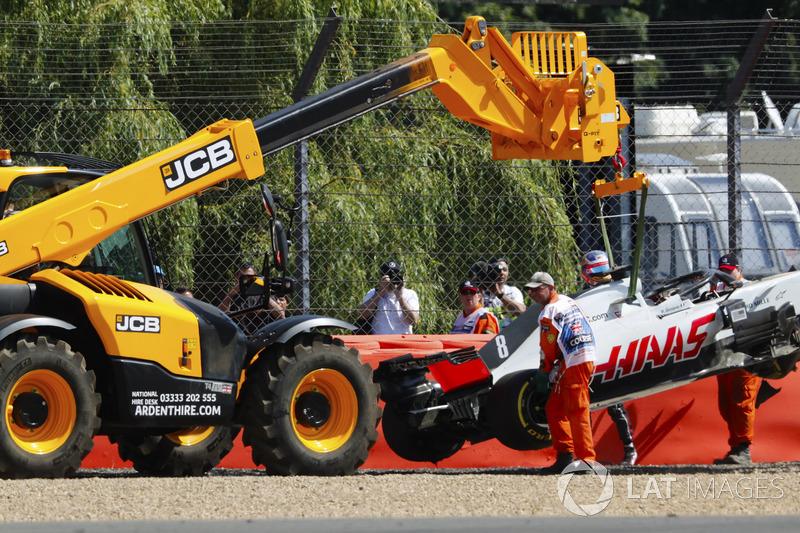 Romain Grosjean, Haas F1 Team, après sa sortie de piste