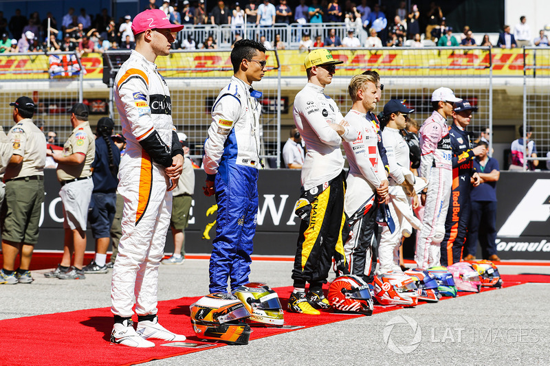 Stoffel Vandoorne, McLaren, Pascal Wehrlein, Sauber, Nico Hulkenberg, Renault Sport F1 Team, Kevin Magnussen, Haas F1 Team