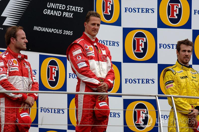 Podyum: Yarış galibi Michael Schumacher, Ferrari, 2. Rubens Barrichello, Ferrari, 3. Tiago Monteiro, Jordan