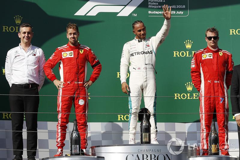 Podium: 1. Lewis Hamilton, 2. Sebastian Vettel, 3. Kimi Raikkonen