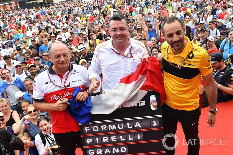 Frederic Vasseur, Sauber, Team Principal, Eric Boullier, McLaren Racing Director y Cyril Abiteboul, Renault Sport F1