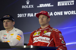 Winner Max Verstappen, Red Bull Racing, third place Kimi Raikkonen, Ferrari in the Press Conference