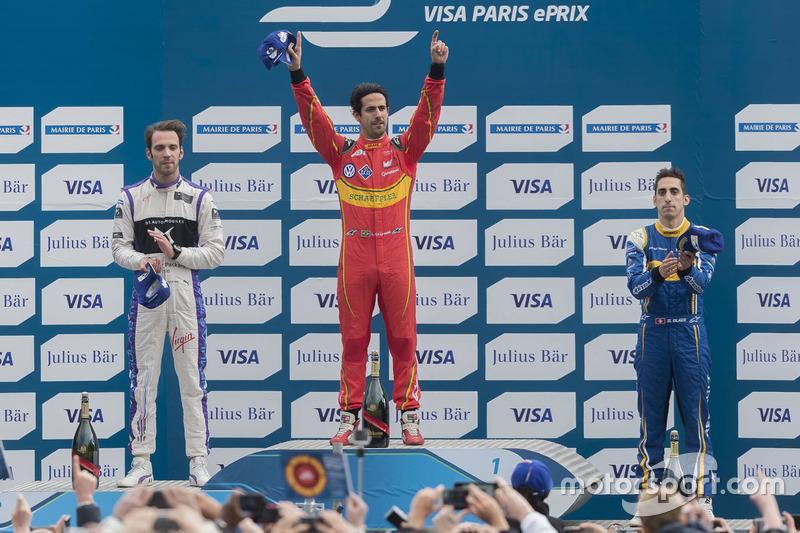 Podium: Sieger Lucas di Grassi, ABT Schaeffler Audi Sport; 2. Jean-Eric Vergne, DS Virgin Racing; 3. Sébastien Buemi, Renault e.Dams