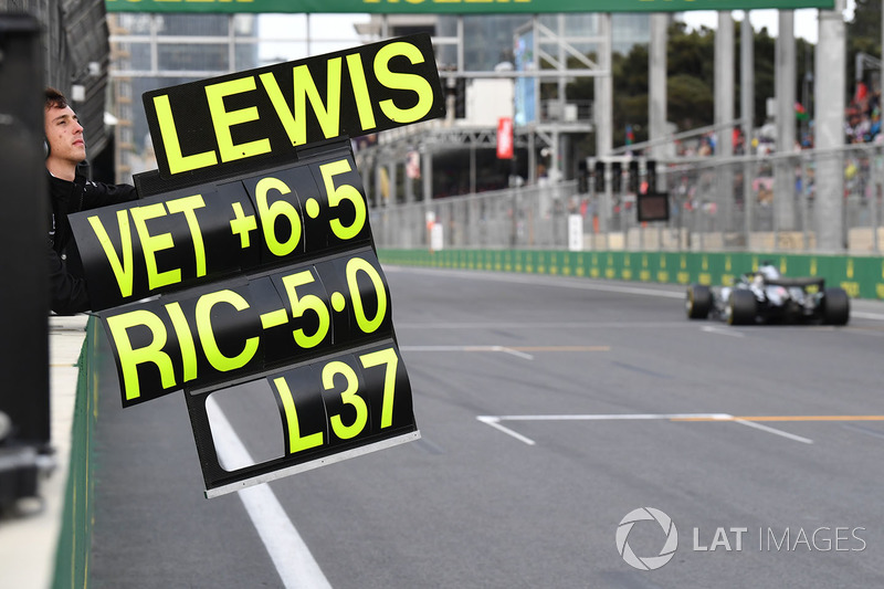 Pit board for Lewis Hamilton, Mercedes-AMG F1 W09 EQ Power+