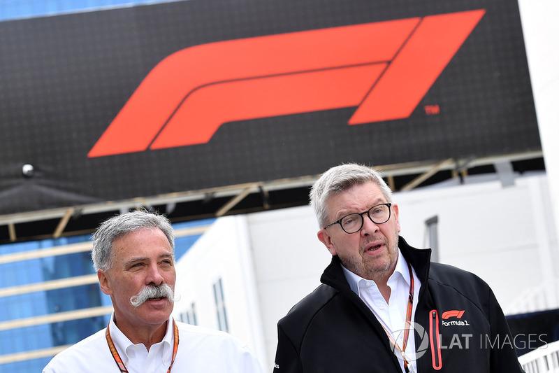 Chase Carey y Ross Brawn, F1