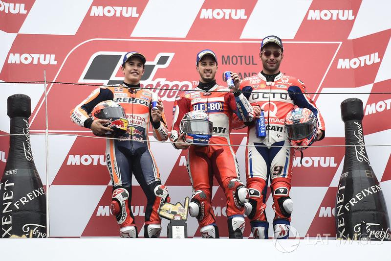 Podium: race winner Andrea Dovizioso, Ducati Team, second place Marc Marquez, Repsol Honda Team, thi