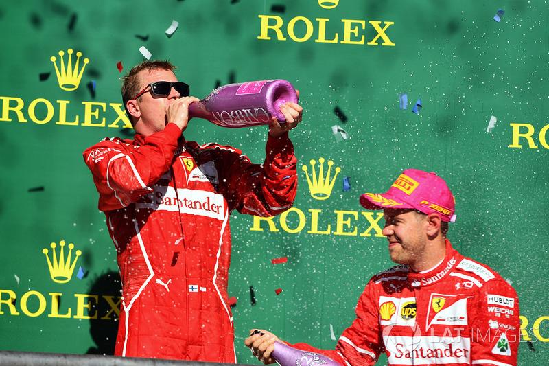 Segundo, Sebastian Vettel, Ferrari y Kimi Raikkonen, Ferrari