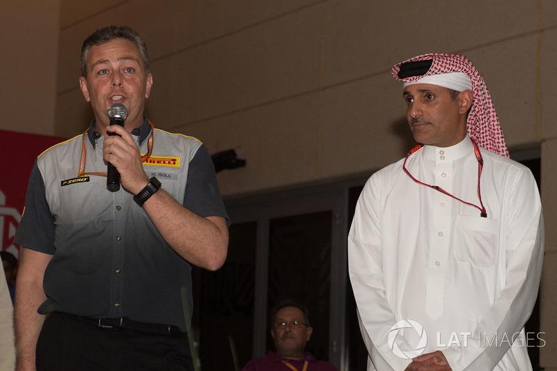 Shaikh Salman bin Isa Al Khalifa, Chief Executive of Bahrain International Circuit with Mario Isola, Pirelli Sporting Director