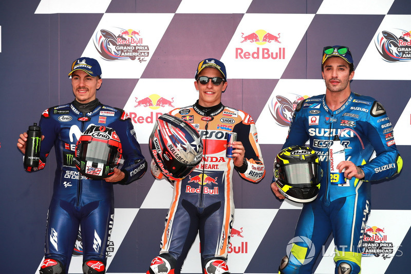Top3 después de la calificación: Maverick Viñales, Yamaha Factory Racing, Marc Márquez, Repsol Honda Team, Andrea Iannone, Team Suzuki MotoGP