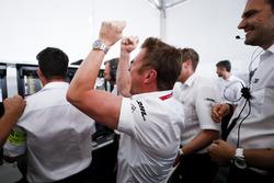 Allan McNish, Team Principal, Audi Sport Abt Schaeffler, celebrates winning