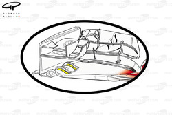Ferrari F14 T new front wing, outline with changes to arc'd slots highlighted in yellow