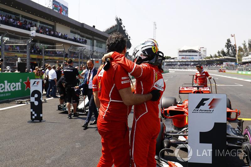 Sebastian Vettel, Ferrari, celebra