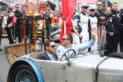 Le Mans 24 Hours Trophy arrives in a car driven by Pierre Fillon, President ACO