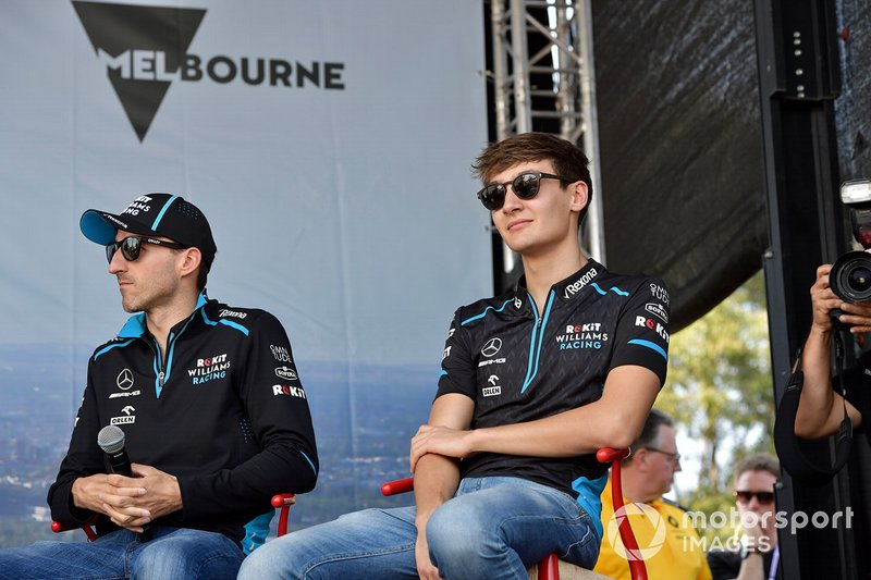 Robert Kubica, Williams Racing, and George Russell, Williams Racing, on stage