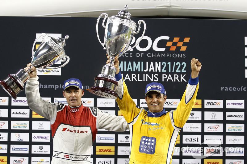 Podio: ganador de lacarrera Juan Pablo Montoya, segundo lugar Tom Kristensen