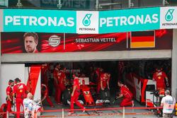 The car of Sebastian Vettel, Ferrari SF70H in the garage