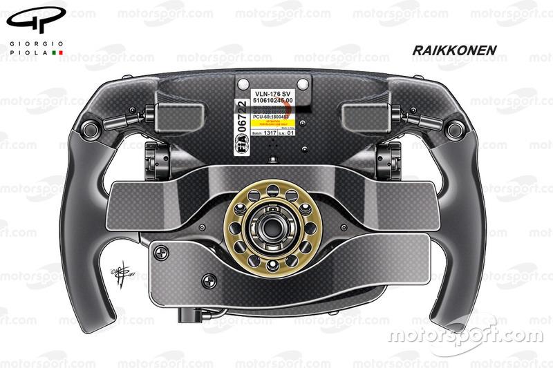 Ferrari SF70H, vista posteriore del volante di Kimi Räikkönen