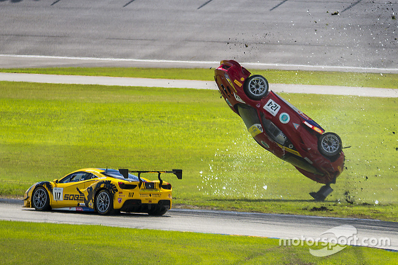 1. #124 Ferrari of Long Island Ferrari 488 Challenge: Jerome Jacalone, crash