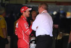 Sebastian Vettel, Ferrari and Ross Brawn, Formula One Managing Director of Motorsports in parc ferme