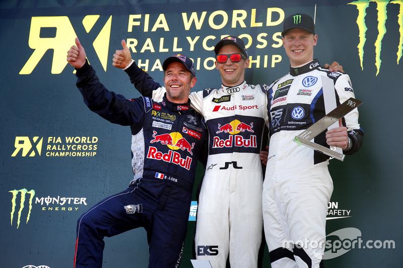 Podium: Race winner Mattias Ekström, EKS, Audi S1 EKS RX Quattro, second place Sebastien Loeb, Team Peugeot-Hansen, Peugeot 208 WRX, third place Johan Kristoffersson, PSRX Volkswagen Sweden, VW Polo GTi