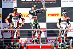 Podium: race winner Jonathan Rea, Kawasaki Racing, second place Chaz Davies, Ducati Team, third place Marco Melandri, Ducati Team