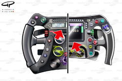 Mercedes steering wheel comparison (W04, left and W05, right)