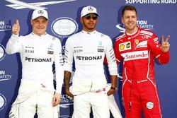 Поулсіттер Льюіс Хемілтон Mercedes AMG F1, друге місце - Себастьян Феттель, Ferrari, третє місце - Валттері Боттас Mercedes AMG F1
