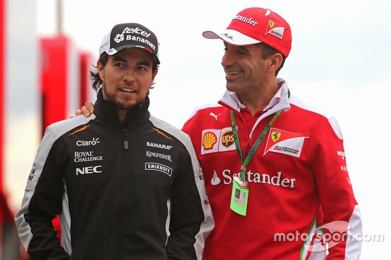 Sergio Perez, Sahara Force India, und Marc Gene, Scuderia Ferrari