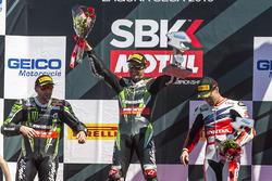 Podium, Rennen 1: Sieger Jonathan Rea, Kawasaki Racing; 2.Tom Sykes, Kawasaki Racing; 3. Nicky Hayde