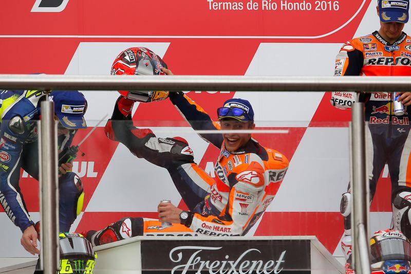 1. Marc Marquez, 2. Valentino Rossi, 3. Dani Pedrosa