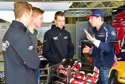 Talenten Richard Verschoor, Danny Kroes en Jarno Opmeer bezoeken Max Verstappen, Scuderia Toro Rosso