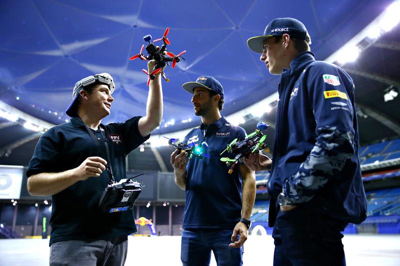 Max Verstappen, Red Bull Racing and Daniel Ricciardo, Red Bull Racing talk about racing drones
