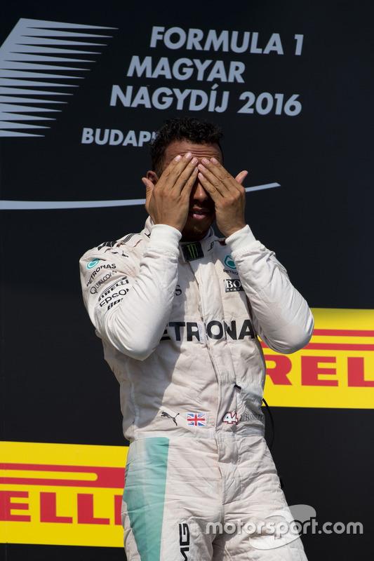 Lewis Hamilton, Mercedes on the podium